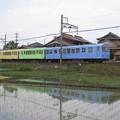 田んぼに映る小さな電車@近畿日本鉄道内部線追分駅~小古曽駅