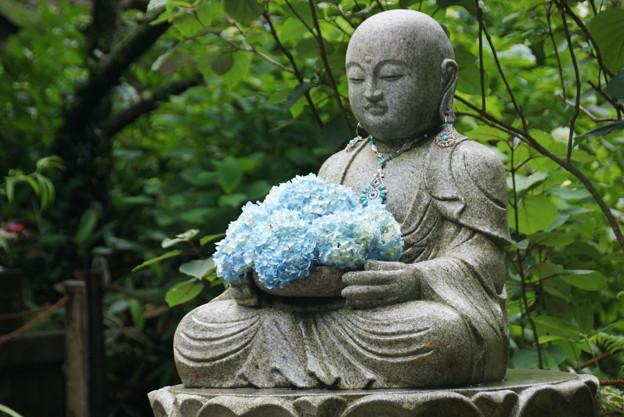花想い地蔵と紫陽花!140607