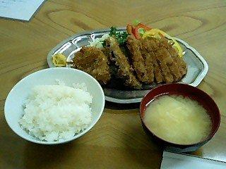 081229 キッチントキワ の ハムカツ&エビコロ定食