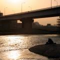 写真: 多摩川の夕日