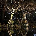 霞ヶ池に映ることじ灯籠