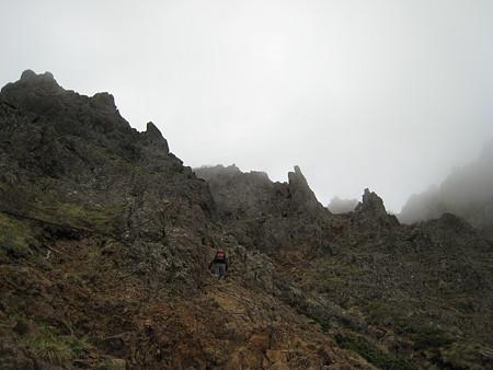 赤岳登りの岩場
